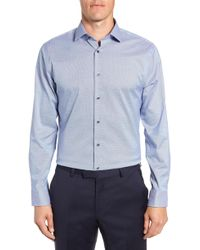 Calibrate Trim Fit Stretch No-iron Solid Dress Shirt - Blue