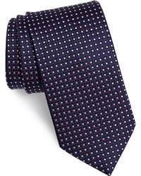 Eton of Sweden Grid Silk Tie - Blue