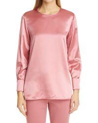 Max Mara Sava Silk Satin Tunic - Pink