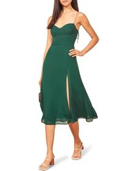 Reformation Rosehip Pleated Midi Dress - Green