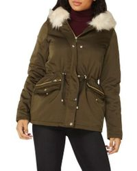 Dorothy Perkins Hooded Parka With Removable Faux Fur Trim - Green