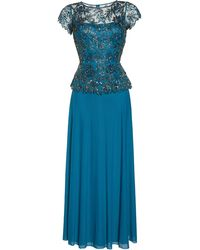 Pisarro Nights Womens Long Dress with Godet Skirt and a Beaded and Pearl Motif
