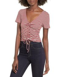 Mimi Chica - Stripe Ruched Tee - Lyst