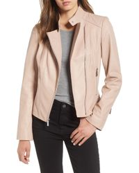 MICHAEL Michael Kors - Asymmetrical Zip Leather Moto Jacket - Lyst