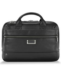 Briggs & Riley @work Slim Leather Laptop Briefcase - Black