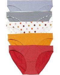 Madewell 5-pack Stretch Cotton & Modal Bikinis, Blue