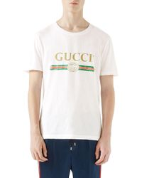 2c21f6657a9 Gucci - Distressed Printed Cotton-jersey T-shirt - Lyst