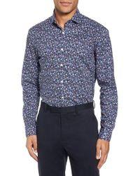 Duchamp - Trim Fit Floral Dress Shirt - Lyst