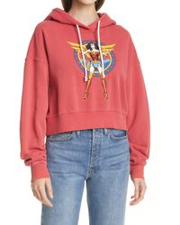 RE/DONE Women's Ww84 Comic Crop Graphic Hoodie - Red