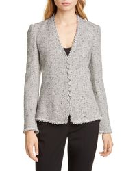 TAILORED BY REBECCA TAYLOR Fringe Detail Tweed Jacket - Gray