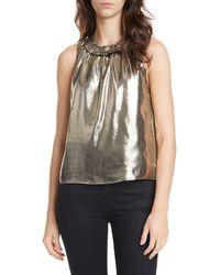Dolan Prasong Ruffle Neck Metallic Silk Sleeveless Blouse