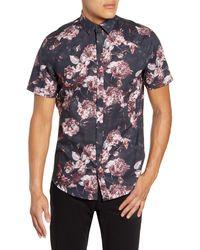 Calibrate Slim Fit Floral Button-up Sport Shirt - Black
