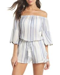 Surf Gypsy - Off The Shoulder Cover-up Romper - Lyst