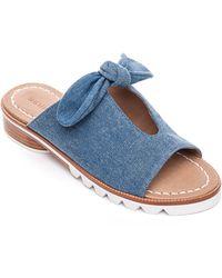 Bernardo Alice Denim Bow Slide Sandals - Blue