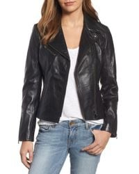 Lamarque - Asymmetrical Zip Leather Biker Jacket - Lyst