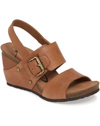 Otbt - Overnight Leather Two-band Wedge Sandals - Lyst