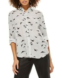 TOPSHOP - Birds And Clouds Casual Shirt - Lyst