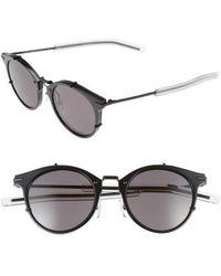 Dior Homme - 48mm Round Sunglasses - Shiny Matte Black - Lyst