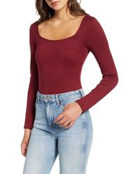 Project Social T Square Neck Bodysuit - Red