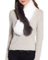 La Fiorentina Genuine Fox Fur Pull Through Scarf - Gray