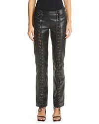 Saks Potts Christina Lace-up Leather Pants - Black