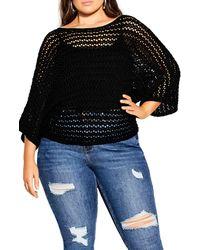 City Chic Cool Crochet Sweater - Black