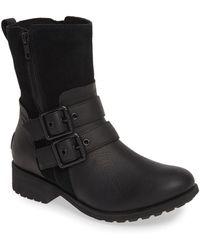 3b9a80112d3 UGG Chancey Black Leather Calf Biker Boots - Lyst