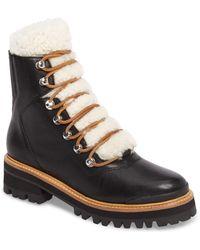 Marc Fisher Izzie Shearling Fur Hiker Boots - Black