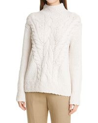Vince Rising Cable Turtleneck Sweater - Natural