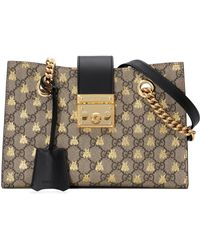 03c35ecac9fb Gucci - Small Padlock Gg Supreme Bee Shoulder Bag - Lyst