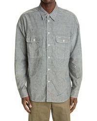Visvim - Lumber Paint Splatter Silk Chambray Button-up Shirt - Lyst