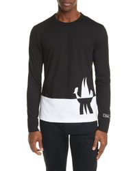 Moncler Colorblock Long Sleeve T-shirt - Gray