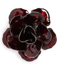 Hook + Albert Metallic Floral Lapel Pin - Red