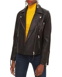 TOPSHOP - Dolly Leather Biker Jacket - Lyst