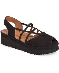 L'amour Des Pieds Adelais Platform Wedge Sandal - Black