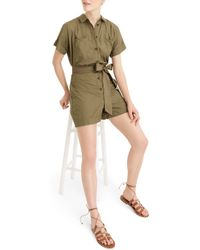 J.Crew Button-up Short Romper - Green