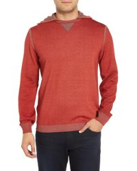 Bugatchi Hooded Pullover - Red