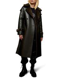 TOPSHOP Chester Reversible Faux Fur Coat - Green