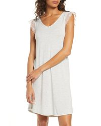 Nordstrom Moonlight Lace Trim Nightgown - Grey