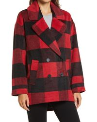 Halogen Buffalo Check Print Double Breasted Pea Coat - Red