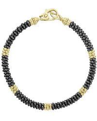 Lagos - Gold & Black Caviar Beaded Station Bracelet - Lyst