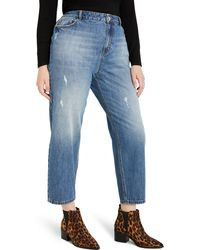 Eloquii Distressed Nonstretch Mom Jeans - Blue