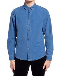 A.P.C. Button-down Denim Shirt - Blue