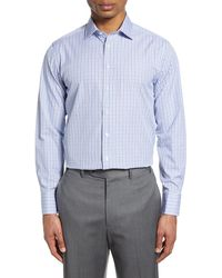 Thomas Pink Slim Fit Check Dress Shirt - Blue