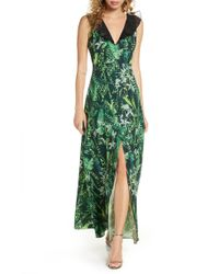 Foxiedox Print Ruffle V-neck Evening Gown - Green