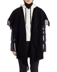 Moncler Mantella Down Puffer Sleeve Wool Cape Coat - Black