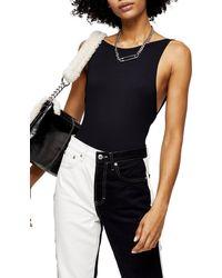TOPSHOP Black Scoop Back Bodysuit