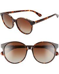 Kate Spade Eliza 55mm Polarized Round Sunglasses - Dkhavana/ Brown Grad Polz