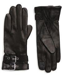 AllSaints Buckled Leather Gloves - Black