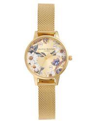 Olivia Burton - Bejewelled Floral Mesh Strap Watch - Lyst